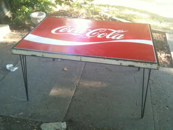 coke sign table