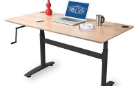 Hand cranked adjustable height desk frame